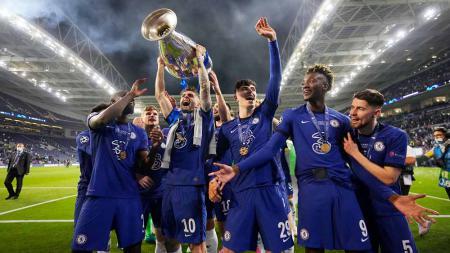 Selebrasi pemain Chelsea juara Liga Champions UEFA, Sabtu (29/05/21). - INDOSPORT