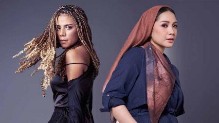 Aktris Indonesia Nowela Elizabeth Auparay dan Nagita Slavina. - INDOSPORT