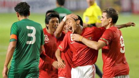 Selebrasi pemain Indonesia, pertandingan Indonesia vs Turkmenistan di kualifikasi piala dunia 2014. - INDOSPORT