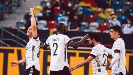 Timnas Jerman berhasil mendominasi pertandingan dan membantai Latvia tanpa ampun dengan skor telak 7-1 dalam laga uji coba jelang Euro 2020. - INDOSPORT