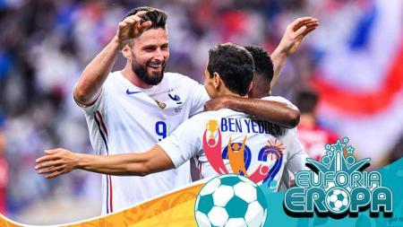 Selebarasi Olivier Giroud (Prancis) merayakan golnya dengan teman setimnya pertandingan antara Prancis dan Bulgaria. - INDOSPORT