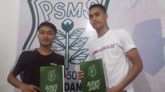 Indosport - Sendy Abelia Tacchinardi (kiri) dan Rizky Sena (kanan), dua pemain anyar PSMS Medan.