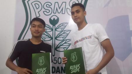 Sendy Abelia Tacchinardi (kiri) dan Rizky Sena (kanan), dua pemain anyar PSMS Medan. - INDOSPORT