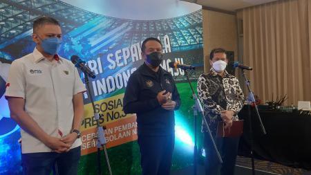 Kemenpora menggelar acara Sosialisasi Inpres No. 3 Tahun 2019 tentang Percepatan Pembangunan Persepak Bolaan Nasional di Yogyakarta di Royal Ambarrukmo Hotel, Yogyakarta. - INDOSPORT