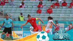 Indosport - Aksi Gareth Bale di laga Wales vs Swiss dalam laga Grup A Euro 2020.