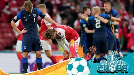 Rasmus Schuller sedang mencoba menghibur Mathias Jensen yang menggantikan Christian Eriksen dalam laga Euro 2020 Denmark vs Finlandia. - INDOSPORT