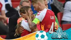 Indosport - Christian Eriksen Tumbang, Sang Kekasih Menangis di Pelukan Simon Kjaer
