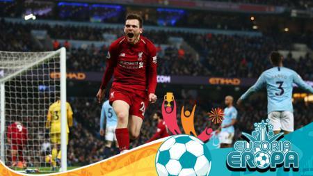 Pemain Liverpool, Andrew Robertson pasca memberikan assist kepada Firmino - INDOSPORT