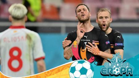 Selebrasi Pemain Austria, Marko Arnautovic di ajang Euro 2020 - INDOSPORT