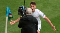Selebrasi gol Patrik Schick pada laga Grup D Euro 2020 antara Skotlandia vs Ceko.