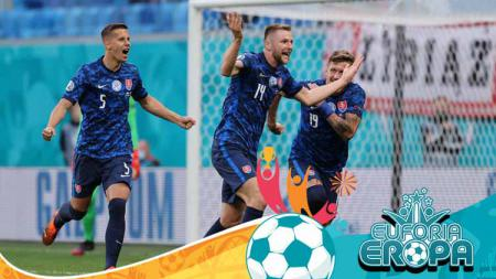 Milan Skriniar merayakan gol kemenangan Slovakia atas Polandia di Euro 2020. - INDOSPORT