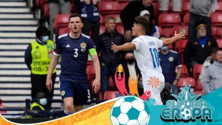 Selebrasi gol Patrik Schick pada laga Grup D Euro 2020 antara Skotlandia vs Ceko. - INDOSPORT