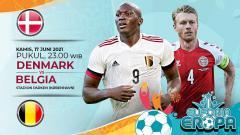 Indosport - Pertandingan antara Denmark vs Belgia (Euforia Eropa 2020).