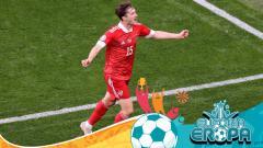 Indosport - Euro 2020: Selebrasi Aleksei Miranchuk Saat Cetak Gol di Laga Finalndia vs Rusia