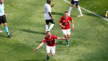 Selebrasi gol Attla Fiola di laga Euro 2020 Hungaria vs Prancis. - INDOSPORT