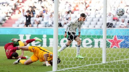 Proses gol Kai Havertz yang menyamakan kedudukan di laga Portugal vs Jerman. - INDOSPORT