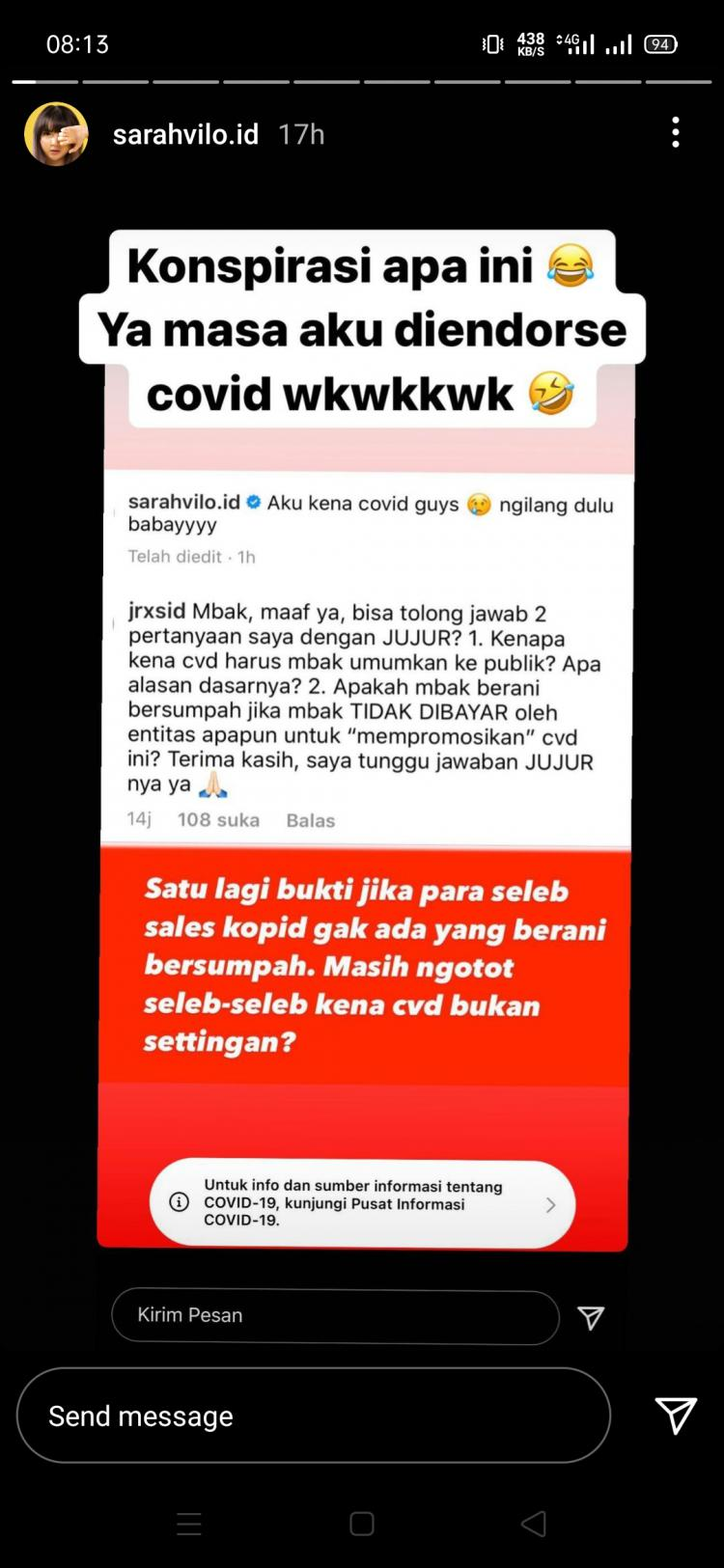 Screenshoot story Instagram Sarah Viloid menanggapi komentar Jerinx. Copyright: Instagram @sarahvilo.id