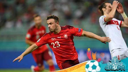 Selebrasi Xherdan Shaqiri usai mencetak gol ketiga Swiss ke gawang Turki. - INDOSPORT