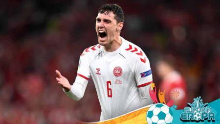 Pemain Timnas Denmark, Andreas Christensen dedikasikan gol gilanya usai bantai Rusia di Euro 2020 untuk Christian Eriksen. - INDOSPORT