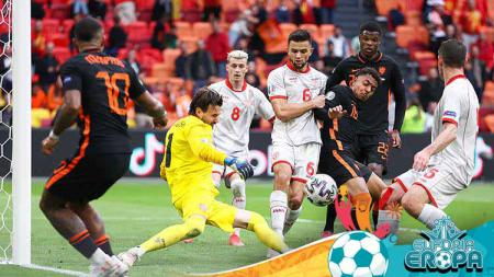 Laga antara Makedonia Utara vs Belanda di Euro 2020. - INDOSPORT