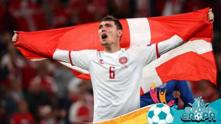 Selebrasi Andreas Christensen di laga Euro 2020 Rusia vs Denmark. - INDOSPORT