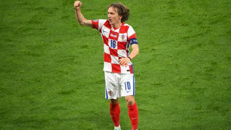 Selebrasi Luka Modric usai mengalahkan Skotlandia di Euro 2020 - INDOSPORT