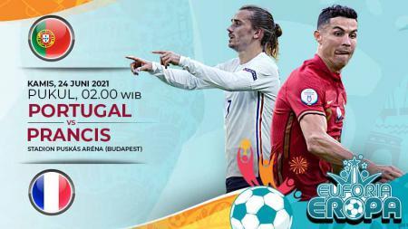 Berikut prediksi duel Portugal kontra Prancis pada laga pamungkas Grup F Euro 2020, Kamis (24/06/21) pukul 02:00 WIB di Ferenc Puskas Stadium. - INDOSPORT