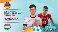 Indosport - Berikut prediksi pertandingan pamungkas Grup F Euro 2020 antara Jerman vs Hungaria, Kamis (24/06/21) pukul 02.00 WIB di Allianz Arena.