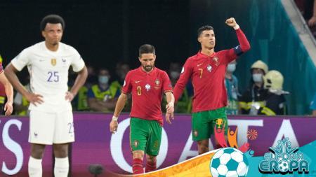 Cristiano Ronaldo cetak dua gol di pertandingan Euro 2020 antara Portugal vs Prancis. - INDOSPORT