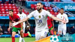 Indosport - Selebrasi pemain Prancis, Karim Benzema usai mencetak gol ke gawang Portugal di Euro 2020.