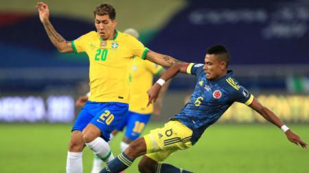 Roberto Firmino di laga Copa America Brasil vs Kolombia. - INDOSPORT