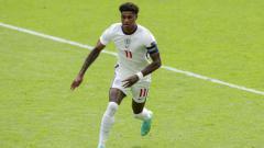 Indosport - Marcus Rashford saat membela Timnas Inggris di Euro 2020