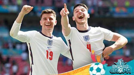 Mason Mount dan Declan Rice dari Timnas Inggris di Euro 2020. - INDOSPORT