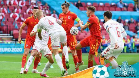 Laga antara Wales vs Denmark di Euro 2020. - INDOSPORT