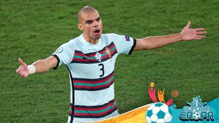 Pemain Portugal, Pepe dalam laga Belgia vs Portugal pertandingan babak 16 besar Kejuaraan UEFA Euro 2020 antara Belgia dan Portugal. - INDOSPORT