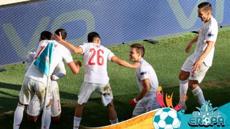 Selebrasi pemain Timnas Spanyol di Euro 2020. - INDOSPORT