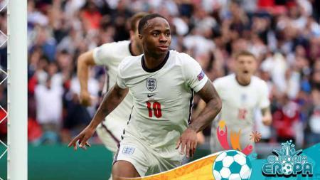 Selebrasi pemain Inggris, Raheem Sterling usai mencetak gol pada pertandingan babak 16 besar Kejuaraan UEFA Euro 2020 antara Inggris vs Jerman. - INDOSPORT