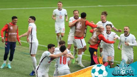 Selebrasi para pemain Inggris usai memenangkan pertandingan babak 16 besar Kejuaraan UEFA Euro 2020 antara Inggris vs Jerman.