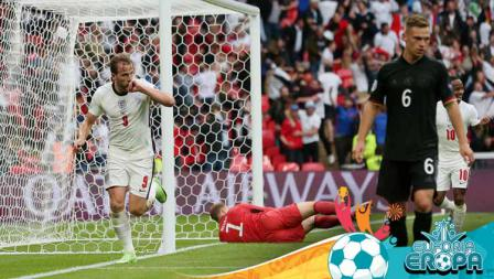 Selebrasi pemain Timnas Inggris, Harry Kane, setelah mencetak gol kedua timnya pada babak 16 besar Kejuaraan UEFA Euro 2020 antara Inggris vs Jerman.