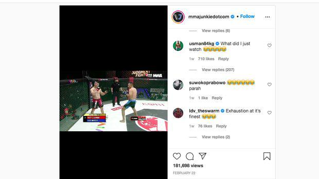 Kamaru Usman tertawa melihat duel dua petarung MMA Indonesia. Copyright: Instagram.com/mmajunkiedotcom