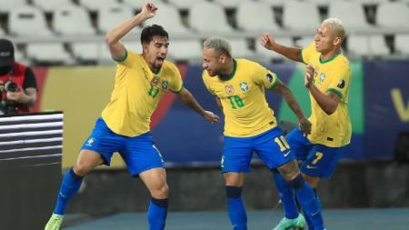 Brasil berhasil melaju ke babak final Copa America 2021 usai mengandaskan perlawanan Peru dengan skor tipis 1-0. - INDOSPORT