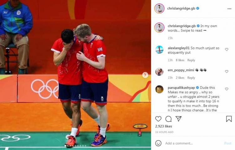 Kukungan suami Saina Nehwal ke Chris Langridge yang tidak dimasukkan ke skuat bulutangkis Inggris di Olimpiade Tokyo 2020. Copyright: Instagram@chrislangridge.gb