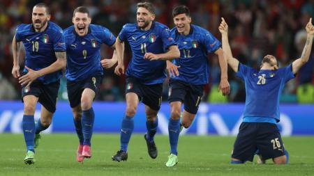 Selebrasi Timnas Italia usai mengalahkan Spanyol di babak semifinal Euro 2020. - INDOSPORT