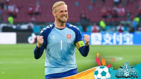 Kasper Schmeichel, kiper Timnas Denmark di Euro 2020. - INDOSPORT