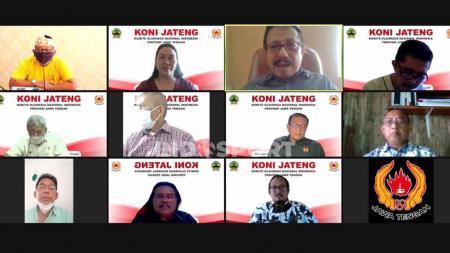 KONI Jateng saat melaporkan penunjukkan Plt ketua umum dan koordinasi jelang PON Papua bersama Disporapar Jateng secara virtual. - INDOSPORT