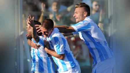 Ciro Immobile, Marco Verratti, dan Lorenzo Insigne saat masih bermain bersama di Pescara. - INDOSPORT