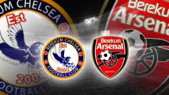 Indosport - Logo dua tim Ghana, Berekum Chelsea dan Berekum Arsenal.