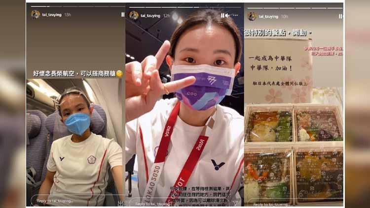 Tai Tzu Ying menunjukkan kursi kelas ekonomi yang diduduki selama penerbangan ke Olimpiade Tokyo Copyright: nstagram Tai Tzu Ying