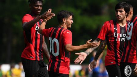 Selebrasi Brahim Diaz di laga AC Milan vs Modena. - INDOSPORT