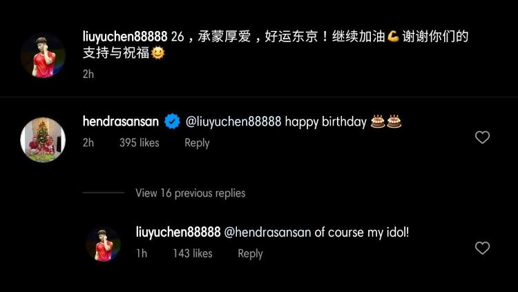 Komentar Liu Yuchen Copyright: instagram.com/liuyuchen88888